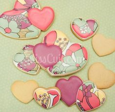 Beautiful artistic wet on wet cookies hearts