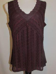 J JILL Sz 1X Lace Tank Cami Blouse NWT Port Wine Purple NEW Plus Size Lined #JJill #TankCami #Career