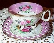 Diamond Occupied Japan Floral Cup and Saucer