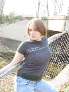 Handpainted TShirt  Women's Gray Flower made by HateCakeCreations