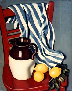 Tamara De Lempicka - Pitcher and Lemons on a Chair, c 1942