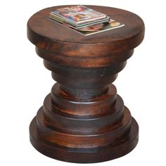 This sheesham wood table in a walnut finish is the perfect mid-century modern accent table. Guru Pedestal Table | Weekends Only Furniture and Mattress