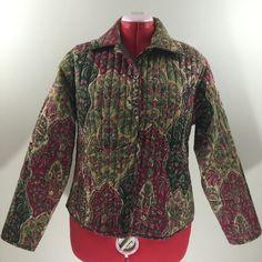 Keren Hart Womens Cotton Quilted Jacket Boho Multicolor Red Green Floral Size L #KerenHart #Jacket #QuiltedJacket