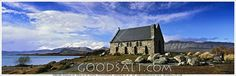 """Famous New Zealand church at Lake Tekapo""""Now therefore ye are no more strangers and foreigners, but fellow citizens with the saints, and of the household of God; And are built upon the foundation of the apostles and prophets, Jesus Christ himself being the chief corner stone;"""" KJV Ephesians 2:19-20  Stone Church at Water's Edge  Photographer Mal Austin"""