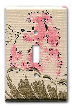 Bathing Pink Poodle 1950's Vintage Wallpaper Switch by Fondue, $12.00