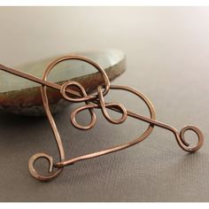 Copper shawl pin - scarf pin in Celtic heart design with a pin stick closure