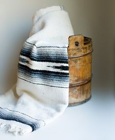 Vintage Mexican / Southwestern Blanket White Gray by LittleHouzz, $40.00