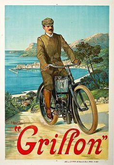 """✨ d'après F. HUGO D'ALESI - GRIFFON. """"MOTOCYCLISTE DEVANT LA BAIE DE MENTON"""". Datée mai 1905. Imprimerie du Griffon, Paris"""