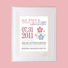 Personalized Birth Announcement Art Print Style by PaperRamma, $20.00