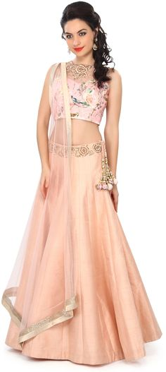 Buy Online from the link below. We ship worldwide (Free Shipping over US$100) Price - $449.00 Click Anywhere to Tag  http://www.kalkifashion.com/peach-lehenga-embellished-in-printe-and-zardosi-embroidery-only-on-kalki.html