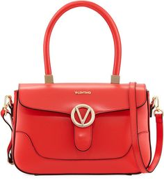 Valentino By Mario Valentino Gaele Smooth Leather Satchel Bag, Red