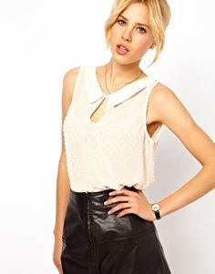 ASOS Sleeveless Top With Dobby Spot Embroidery