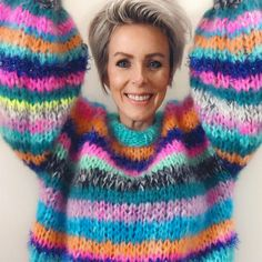This is a knitting pattern to knit your own MYPZ MOHAIR SWEATER.This sweater is a pleasure to wear. Hand Knitted Sweaters, Sweater Knitting Patterns, Knit Patterns, Hand Knitting, Mohair Yarn, Mohair Sweater, Rainbow Sweater, How To Start Knitting, Baby Alpaca