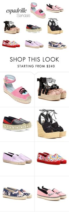 """""""Espadrillas Sandals"""" by charmeandmore ❤ liked on Polyvore featuring Miu Miu, Gucci, Yves Saint Laurent, Kenzo, Dolce&Gabbana, STELLA McCARTNEY, Fendi and shoes"""
