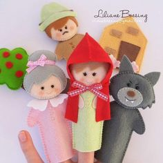 Red Riding Hood finger puppets - idea only Felt Puppets, Puppets For Kids, Felt Finger Puppets, Felt Diy, Felt Crafts, Finger Puppet Patterns, Craft Projects, Sewing Projects, Felt Quiet Books