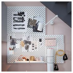 You can store things on both sides of the pegboard if you use it as a divider on a desk or in a freestanding ALGOT storage combination. Ikea Skadis, Algot Ikea, Ikea Storage, Storage Hacks, Wall Storage, Do It Yourself Ikea, Ikea Pegboard, White Pegboard, Large Pegboard