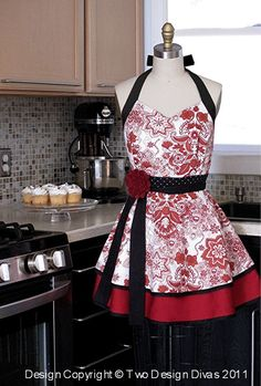 Kitchen Apron - Sweetheart Neckline Double Skirt...