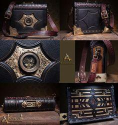 Shoulder bag by Aetherwerk on DeviantArt Diesel Punk, Steampunk, Nerd Crafts, Leather Armor, Retro, Leather Working, Baggage, Louis Vuitton Monogram, Shoulder Bag