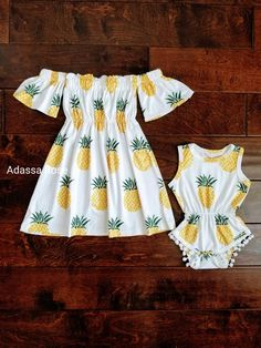 Beautiful cold shoulder pineapple dress and pom pom romper set. Made of the softest fabric and the cutest pineapple motive. Perfect for birthdays, photo sessions or everyday dress up. Baby Outfits, Baby Girl Dresses, Baby Dress, Kids Outfits, Cute Outfits, Toddler Outfits, Toddler Girls, Little Kid Fashion, Baby Girl Fashion