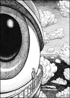drawing art eyes painting eye psychedelic creative strange mind surrealism s… – painting Trippy Drawings, Art Drawings, Drawing Art, Surrealism Drawing, Drawing Ideas, Art Inspo, Stylo Art, Negative Space Art, Pop Art