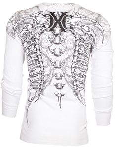 Xtreme Couture AFFLICTION Mens THERMAL T-Shirt VERTEBRAE Tattoo Biker M-3XL $58 #Affliction #GraphicTee