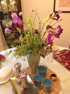 Flowers from our garden: irises, chives, lavender, oregano, dogwood. (The irises had fallen over in the rain, so I had to bring them in, which inspired a bouquet.) #100happydays #stillhappy 100 Happy Days, Irises, Glass Vase, Lavender, Bouquet, Rain, Inspired, Garden, Flowers