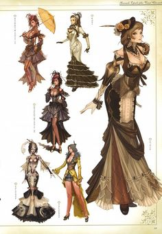 Des robes du (vieux) MMORPG Granado .#Steampunk ✤ || CHARACTER DESIGN REFERENCES | キャラクターデザイン • Find more at https://www.facebook.com/CharacterDesignReferences if you're looking for: #lineart #art #character #design #illustration #expressions #best #animation #drawing #archive #library #reference #anatomy #traditional #sketch #development #artist #pose #settei #gestures #how #to #tutorial #comics #conceptart #modelsheet #cartoon #clothes #woman #long #dress || ✤