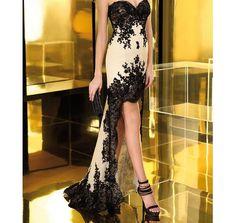 Champagne bridesmaid  wedding dress black applique short by JUMX, $160.00