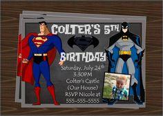 SUPERMAN VS BATMAN Birthday Party Invitation Printable on Etsy, $8.50