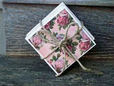 Ceramic TIle Coaster Set Rose Pink Floral by CasstheCrafter, $6.00