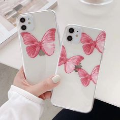 Cute Butterfly Pink Phone Case For Iphone 6 6S 7 8 Plus Transparent Case For Iphone 11 Pro XR XS Max X Clear Soft TPU Back Cover Pink Phone Cases, Pretty Iphone Cases, Unique Iphone Cases, Cute Phone Cases, Floral Iphone Case, Iphone 6, Coque Iphone, Iphone Phone Cases, Apple Iphone
