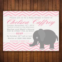 #Printable #Baby #Girl #Elephant #Pink #Chevron #Stitch #BabyShower 4x6 or 5x7 #Invitation - #Print at home #DIY