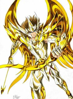 Gold Saint Sagittarius Aioros with Divine Cloth, Artwork by Spaceweaver. Saint Seiya Soul of Gold