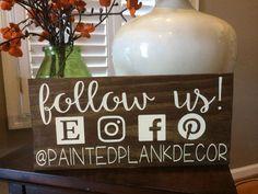 Follow Us Social Media Sign / WOOD SIGN / Wood decor / Wall decor / small business