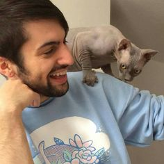 Mitch Grassi and his and Scott Hoying's sphynx cat Wyatt-Blue-Grassi-Hoying