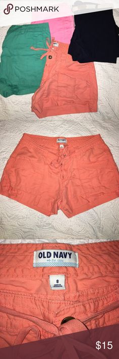Short Bundle (4) for cheap!! Bundle of FOUR pairs of shorts for cheap!                         Coral: Old Navy size 8, loved and gently used                 Turquoise & Pink: JCPenney size 8. One clip on pink is broken but still button fine!  Turquoise only worn once.    Navy: NWT, by&by size 7 (juniors), high-waisted Shorts