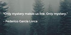 """Only mystery makes us live. Only mystery.""   - Federico García Lorca"