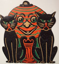 1933 Beistle 'Cats And Pumpkin Lamp' Embossed Die Cut Decoration. One of 12 Designs. Size: 9 1/2""