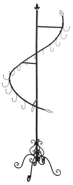 Spiral Clothing Rack for Bags, Floor Standing, 15 Total Hooks - Black