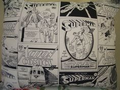 Black/Grey/White Superman Action Comic Books, Super Heros Fabric Pillow/Cushion. £14.50, via Etsy.