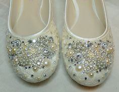 TWINKLE TOES Ballet Flats ... vintage lace, Swarovski crystals, pearls and glass embellishments. $295.00, via Etsy.
