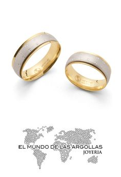 Modelo: A-C08376M - Argolla oro amarillo y blanco 14k confort giratoria mate diamantado 6mm #ArgollasDeMatrimonio