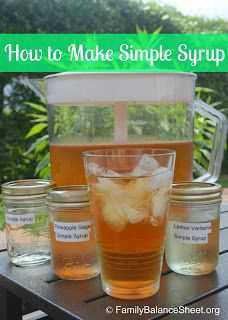 How to Make Simple Syrup (Basic Recipe) along with instructions for making Herbal-Infused Simple Syrup using herbs like lavender, lemon verbena or mint. Perfect for iced tea, lemonade, and summer cocktails. | www.FamilyBalanceSheet.org