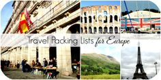 Travel Packing Lists for Europe including Italy, France, England, Ireland, Scotland, Holland, Spain, and more!