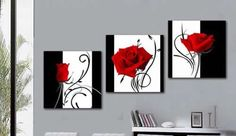 Red abstract 3 piece flower canvas painting ... from Google Images