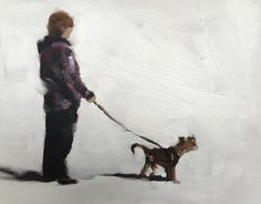 Dog Walker - Art Print - 8 x 10 inches - from original painting by J Coates by JamesCoatesFineArt on Etsy
