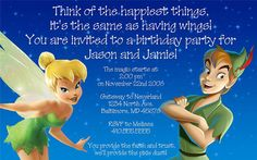 Invitation, Tinkerbell and Peter Pan!