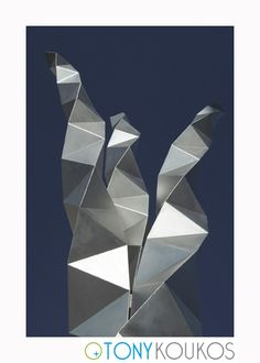 metal, origami, triangles, reflection, twisted, modern, art, photography, travel, Tony Koukos, Koukos