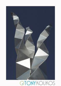 metal, origami, triangles, reflection, twisted, modern, art, photography, travel, Tony Koukos, Koukos