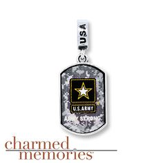Charmed Memories Army Dangle Charm Sterling Silver